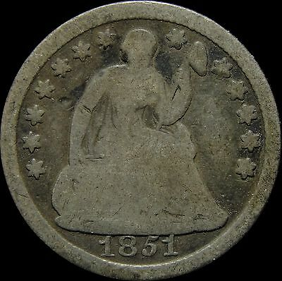 1851 Seated Liberty Silver Half Dime A11171