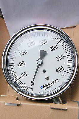 Ashcroft 0 to 400 psi gauge model 351009SW04LXC4 + CERTIFIED CALIBRATED PAPERS