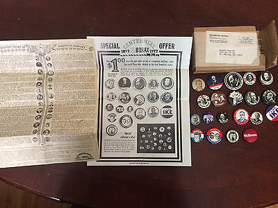 Vtg Lot 20 Presidential Buttons/Pins Borax Centennial w/ Box & Documents: HTF!!!