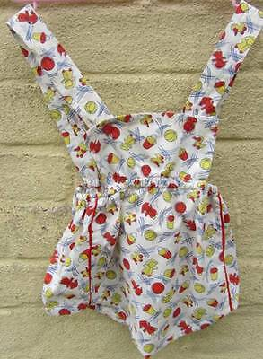 Children's vintage play suit sun cotton retro pattern 40's baby WW2 age 1