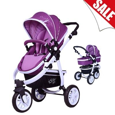 3 Wheels Baby Pushchair Swivel Wheels Pram Travel System Stroller Foldable Buggy
