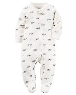 New Carter's Girl Boy Elephant Print Sleep n Play Terry Footed PJs NB 3 6 9 NWT