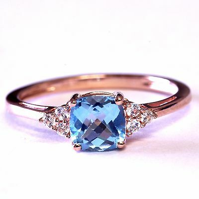 925 sterling silver blue topaz created white sapphire ring 1.8g estate rose plat