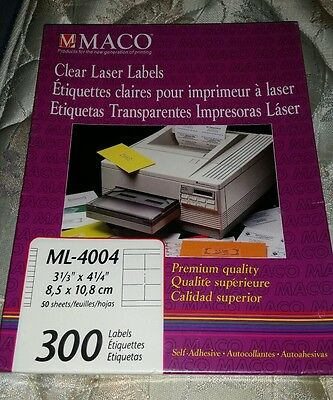 "Maco Ml-4004  Clear Laser Labels 3 1/3"" X 4 1/4"" 300/box"