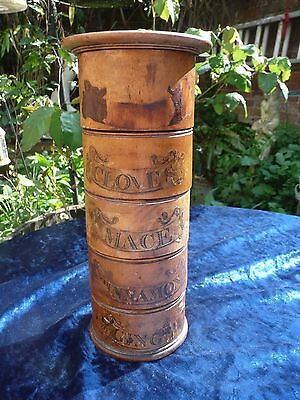 Antique Victorian  Spice Tower , 5 Sections Turned Wood Treen