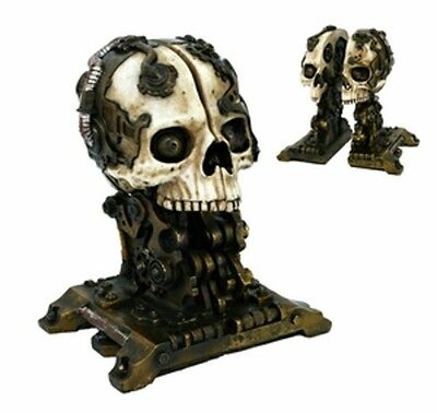 Detailed Hand Painted Resin Steampunk Skull Bookends Set