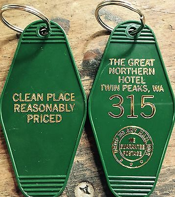 "New Style! Gold printed TWIN PEAKS Inspired ""Great Nothern Hotel"" keychain"