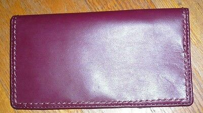 Coach Checkbook Holder Brown Maroon Leather