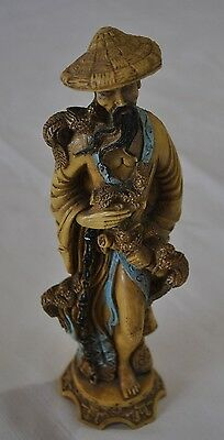 Antique Hand Carved Old Chinese or japan es Man  Statue