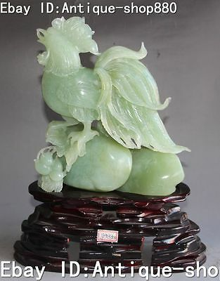 China Natural Jade Carving Peanut Earthnut Rooster Chick Chicken Animal Statue