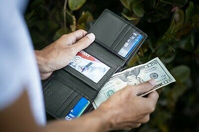 RFID Signal Blocking Mens Trifold Wallet Genuine Cow Leather Black New