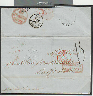 MS344 1852 GBPOs ABROAD Carribean *HAVANA* Transatlantic Letter France via GB