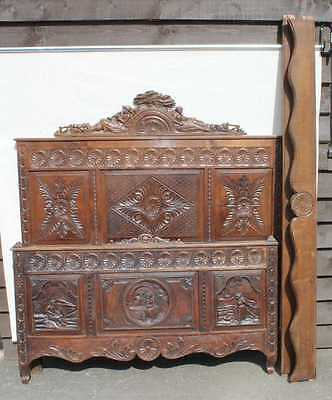 1900's Breton Carved Oak Head,Foot and side rails.3 Carved Panels. Check Size