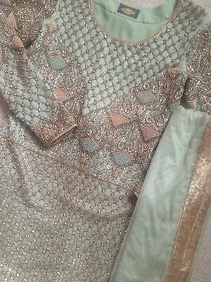 Beautiful Pakistani Designer Pastel Green Wedding Asian Bridal Lengha Dress 6/8