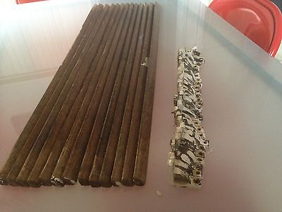 Antique Victorian/Edwardian Hardwood Oak Stair Rods & Brackets X 13