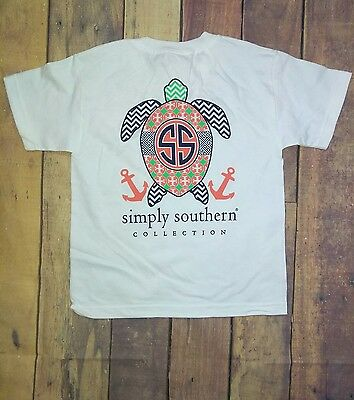 NWT Simply Southern Youth Sz. Large Turtle Short Sleeve White T-Shirt