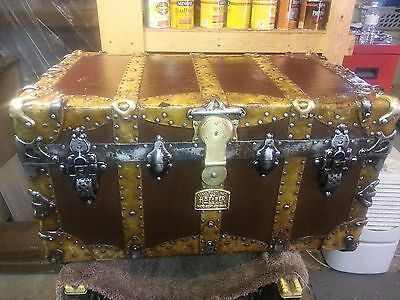 Antique trunk/chest circa 1890. Gorgeous brass accent hardware w/key-HC Faber
