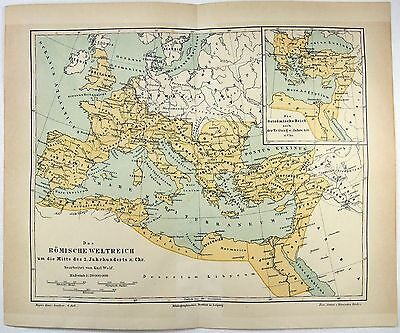 1889 Map of the Roman Empire in the Middle of the Second Century AD by Meyers