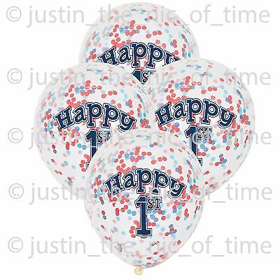 """1ST BIRTHDAY Clear Boy Nautical Party Decorations 12"""" Latex CONFETTI BALLOONS x6"""
