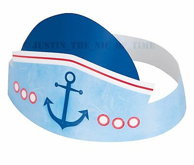 1ST BIRTHDAY Blue Nautical Boys Girl Party Tableware Party Hats x 6