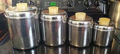 Set 4 Vintage REVERE WARE Stainless Steel Kitchen Storage Containers Canisters