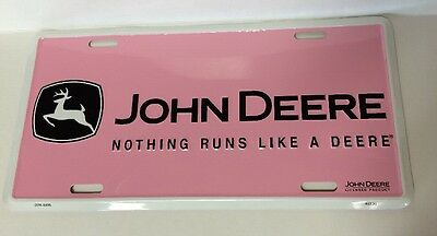 John Deere Metal License Plate Pink Girls Nothing Runs Like A Deere Logo