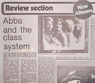 "ABBA - ARRIVAL, ALBUM REVIEW CUTTING, UK 10"" x 8"" 1976"