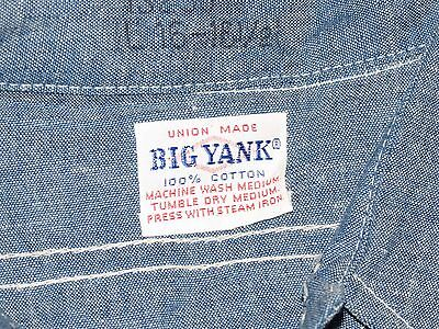 Vintage 40's 50's Deadstock Big Yank Chambray Work Shirt NOS Size Large EXC