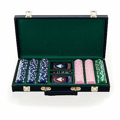 Big City Casino 300 Striped Dice Poker Chip Set with Black Case, Blue/Pink/Green