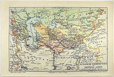 Original 1891 Map of Russian Conquests in Central Asia by Meyers
