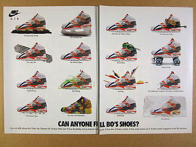 1990 Nike Air Trainer SC shoes 'Can Anyone fill Bo's Shoes?' vintage print Ad