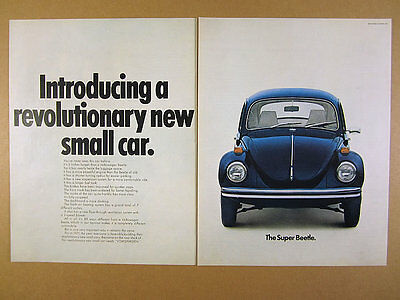 1971 vw Volkswagen Super Beetle 'Introducing' blue bug photo vintage print Ad