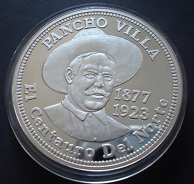 Mexico Francisco Villa 5 Onzas Silver Proof.999 See The  coin 1877-1923 UNC