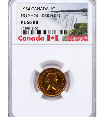 1954 Canada 1 Cent  NSF NGC PL-66 RB