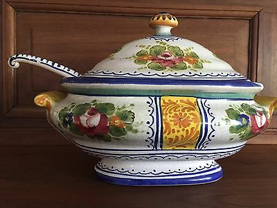 Vintage Italian Ceramic Soup Tureen w/Cover & Ladle Handpainted Blue/Yellow/Red