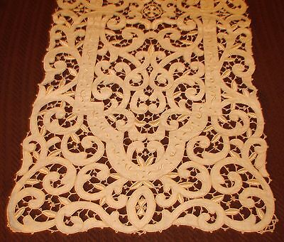 Fabulous Ecru Antique Embroidered and Cutwork Madeira Runner - 52""