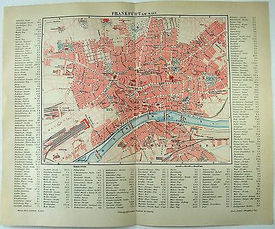 Original 1887 City Map of Frankfurt am Main, Germany by Meyers