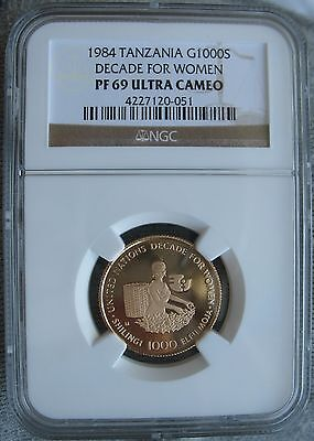 1984 Tanzania Gold 1000 Shilingi NGC PF-69 Ult.Cam DECADE FOR WOMEN Mintage-500
