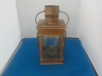 Copper And Glass Oil Lamp  . Vintage Old Collectable Lighting