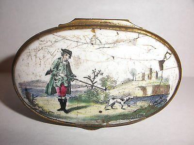 Antique 18th early Battersea enamel porcelain snuff box circa 1780 hunting scene