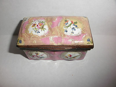 Antique 18th early Battersea enamel porcelain snuff box circa 1780`s flowers