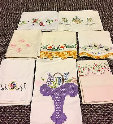 Lot of 8 Single Vintage Crochet Embroidered/Crochet/Cross Stitch/Lace Pillowcase