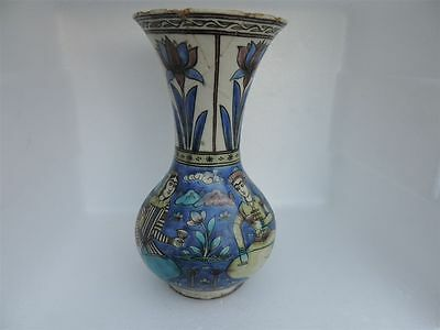 Antique Islamic Persian Art Pottery Qajar  Fritware Hand Painted Qajar Vase