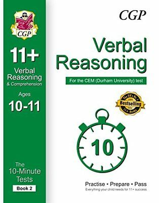 10-Minute Tests for 11+ Verbal Reasoning Ages 10 by CGP Books New Paperback Book