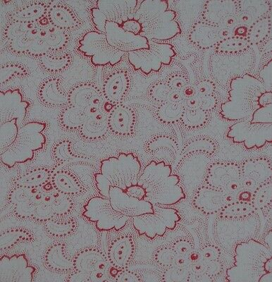 Rare Antique French Fine Cotton Fabric Piece : Pink Floral French Utility Design