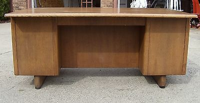 Vintage All Wood Executive Teachers Desk Mid Century Tanker Double Pedestal Oak!