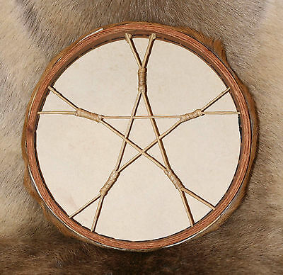 "10"" Shamanic Drum made with Reindeer on Oak Hoop - supplied with beater"