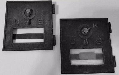 rustic Cast Iron usps mailbox doors black original glass in one circa 1930