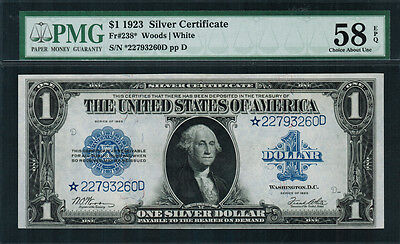 "1923 $1 Silver Certificate FR-238* - ""Star Note"" - Graded PMG 58 EPQ"