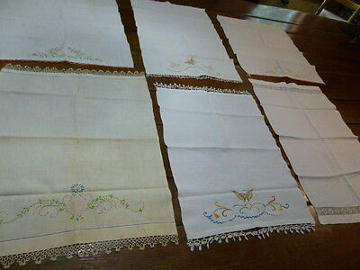 Lot Vintage Hand Embroidered Tea Towels Kitchen Towels Tatted Trim